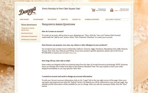Screenshot of FAQ Page deweys.com - Moravian Cookies, Cheese Straws, Cakes, Breads | Frequently Asked Questions | Dewey's Bakery - captured Oct. 5, 2014