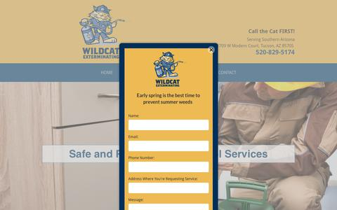 Screenshot of Services Page wildcatexterminating.com - General Pest Control | Specialty Pest Control | Tucson, AZ - captured Oct. 20, 2018