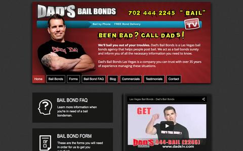 Screenshot of Home Page dadslv.com - Dad's Bail Bonds - Bail Bonds - Forms - FAQ's | Las Vegas, NV - captured Feb. 8, 2016