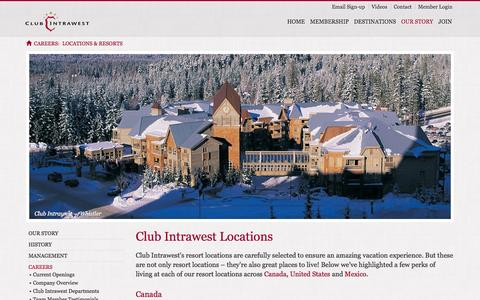 Screenshot of Locations Page clubintrawest.com - Club Intrawest Careers | Locations & Resorts - captured Sept. 24, 2014