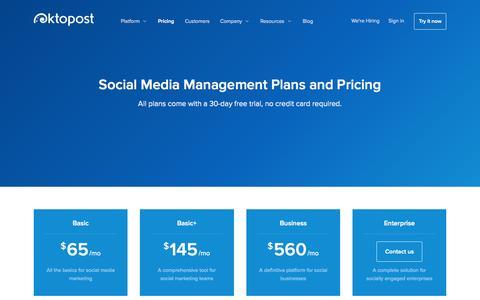 Screenshot of Pricing Page oktopost.com - Pricing for B2B Social Media Platform  | Oktopost - captured Nov. 22, 2015