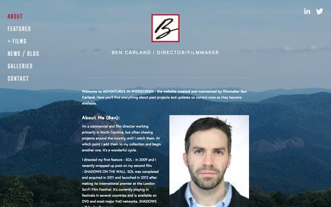 Screenshot of About Page bencarland.com - About — Ben Carland | Director/Filmmaker - captured Sept. 21, 2015