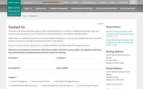 Screenshot of Contact Page nchfa.com - Contact Us | North Carolina Housing Finance Agency - captured Nov. 13, 2017