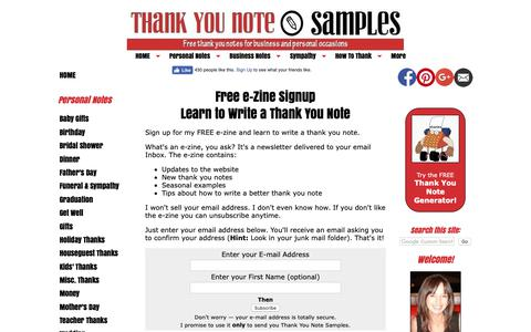Screenshot of Signup Page thank-you-note-samples.com - Write a Thank You Note - captured Oct. 19, 2018