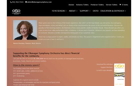 Screenshot of Support Page okanagansymphony.com - Support - Okanagan Symphony Orchestra - captured March 12, 2016
