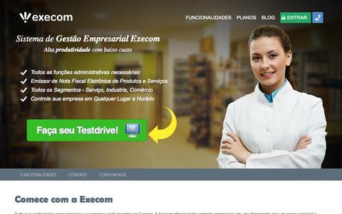 Screenshot of Home Page xcm.com.br - Sistema de Gestão Empresarial Execom | Emissor NFe - captured Sept. 22, 2014