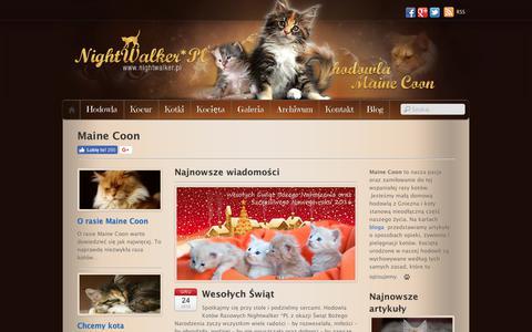 Screenshot of Home Page nightwalker.pl - Maine Coon - hodowla kotów rasowych - Nightwalker - Gniezno - captured March 3, 2018