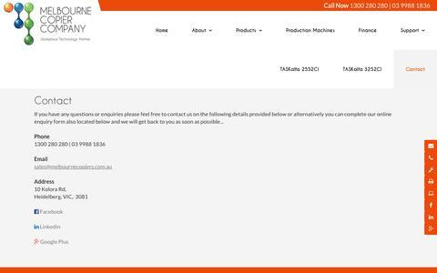 Screenshot of Contact Page melbournecopiers.com.au - Melbourne Copier Company VIC | Printing - captured Jan. 6, 2017