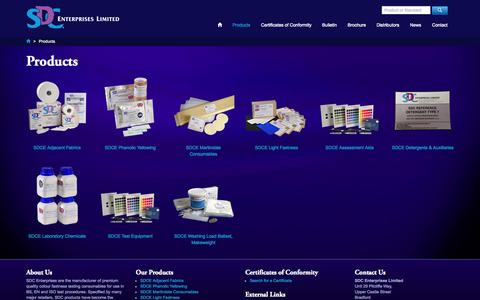Screenshot of Products Page sdcenterprises.co.uk - Products - SDC Enterprises Limited - captured Oct. 3, 2014