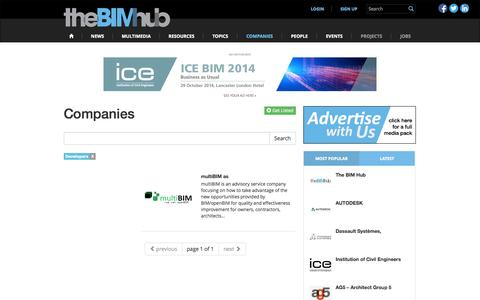 Screenshot of Developers Page thebimhub.com - Developers   Companies   The BIM Hub - captured Oct. 7, 2014