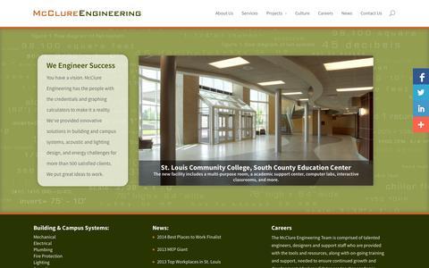 Screenshot of Home Page mcclureeng.com - McClure Engineering - captured Oct. 6, 2014