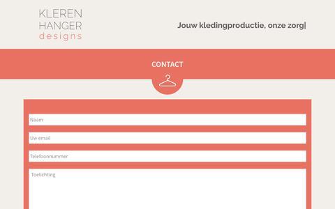 Screenshot of Contact Page klerenhanger.com - CONTACT - Klerenhanger designs - captured Oct. 15, 2018