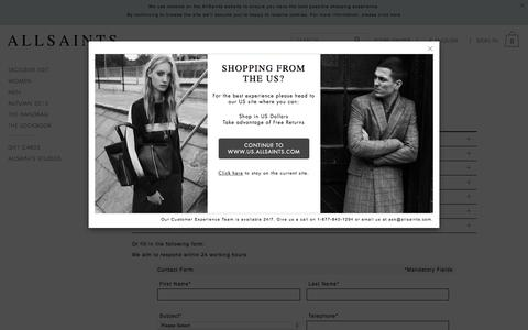 Screenshot of Contact Page allsaints.com - ALLSAINTS : Customer Services & Help - Contact Us Today - captured Oct. 1, 2015