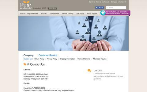 Screenshot of Contact Page pureprescriptions.com - Contact Us - Pure Prescriptions - captured June 22, 2017