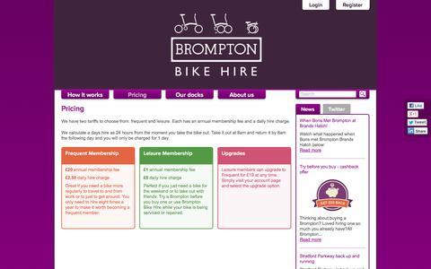 Screenshot of Pricing Page bromptondock.co.uk - Pricing | Brompton Dock - captured Sept. 30, 2014