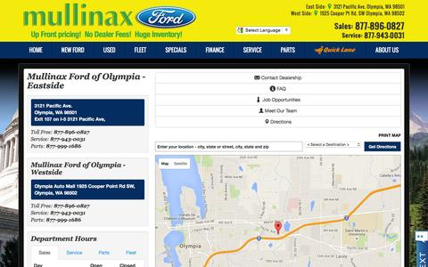 Screenshot of About Page Maps & Directions Page mullinaxfordoly.com - Map, Directions and Hours | Mullinax Ford of Olympia - captured Feb. 5, 2016