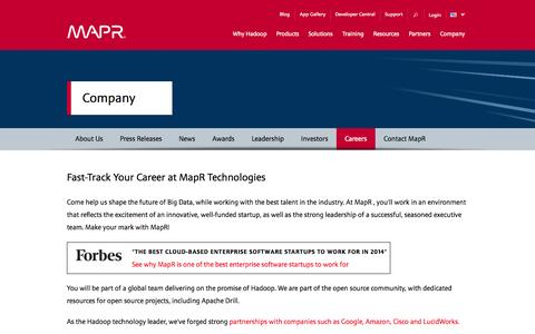 Screenshot of Jobs Page mapr.com - Fast-Track Your Career at MapR Technologies | MapR - captured Oct. 27, 2014
