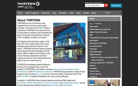 Screenshot of About Page thirteen.org - About THIRTEEN | THIRTEEN - New York Public Media - captured Sept. 23, 2014