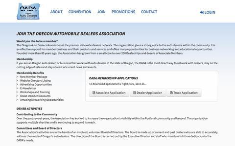 Screenshot of Signup Page oregonautodealers.org - OADA – Join – Portland, Salem, Vancouver - captured Oct. 7, 2014