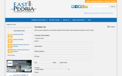 Screenshot of Contact Page epcc.org - Contact Us - East Peoria Chamber of Commerce - captured Jan. 25, 2016
