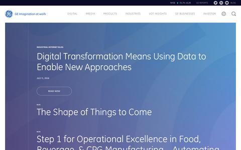 Screenshot of Blog ge.com - Industrial IoT Blog | GE Digital - captured July 7, 2016
