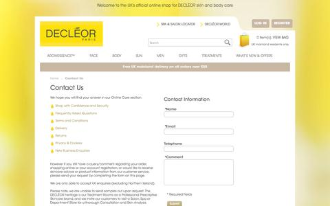 Screenshot of Contact Page decleor.co.uk - Contact Us - captured Sept. 24, 2014