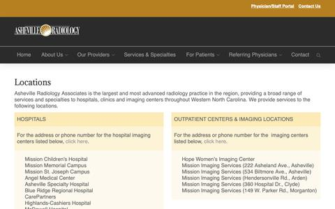 Screenshot of Locations Page ashevilleradiology.com - Locations – Asheville Radiology - captured Oct. 4, 2018