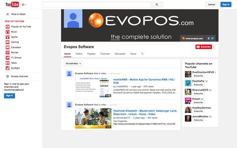 Screenshot of YouTube Page youtube.com - Evopos Software  - YouTube - captured Oct. 22, 2014