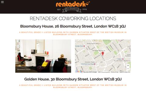 Screenshot of Locations Page rentadesk.co.uk - LOCATIONS — Coworking London Hot Desk Space Shared Office London Virtual Office London from £45/mo Rentadesk - captured Feb. 16, 2016