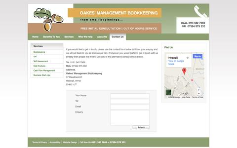 Screenshot of Contact Page oakesbookkeeping.co.uk - Professional Accounting Clerks   Oakes' Management Bookkeeping, Liverpool - captured Sept. 30, 2014