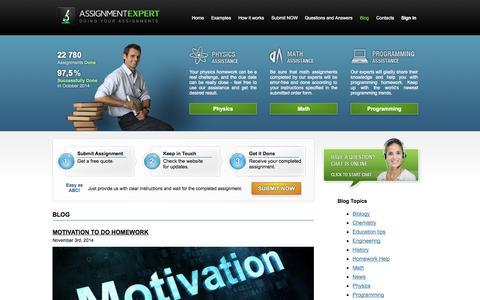 Screenshot of Blog assignmentexpert.com - Homework Help Blog - captured Nov. 5, 2014