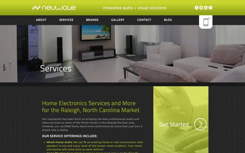 Screenshot of Services Page neuwavesystems.com - Home Theater - Automation & Security - Neuwave Systems - captured Sept. 30, 2014