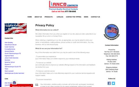 Screenshot of Privacy Page lancocontacts.com - Privacy Policy | Lanco Contacts - captured Dec. 7, 2015