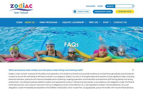 Screenshot of FAQ Page zodiackids.ca - FAQs   Private Swimming Programs Toronto ON   Zodiac Swim School - captured Nov. 30, 2017