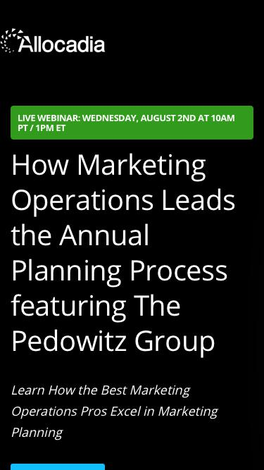 Webinar: How Marketing Operations Leads the Annual Planning Process featuring The Pedowitz Group