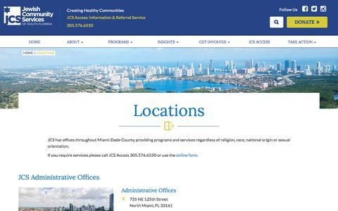 Screenshot of Locations Page jcsfl.org - Locations – Jewish Community Services South Florida - captured Oct. 13, 2017