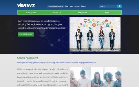 Verint Social Engagement | Verint Systems