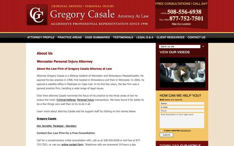 Screenshot of About Page lawworcester.com - Gregory Casale Attorney at Law Worcester MA | Criminal Defense & Personal Injury Lawyer Massachusetts - captured Sept. 30, 2018