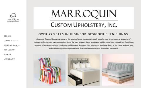 Screenshot of Home Page marroquincustomuph.com - Marroquin Custom Upholstery, Inc. - captured Oct. 17, 2018