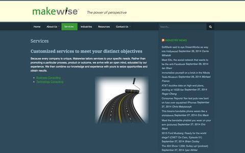 Screenshot of Services Page makewise.com - Makewise LLC  |  Services - captured Sept. 30, 2014