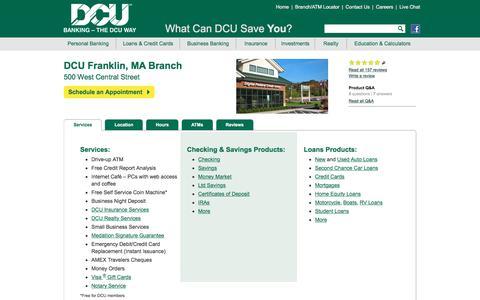 DCU Branch Location in Franklin | Massachusetts