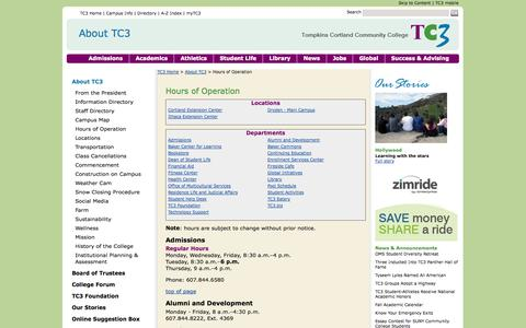 Screenshot of Hours Page tc3.edu - TC3 Home: About TC3: Hours of Operation - captured Sept. 19, 2014