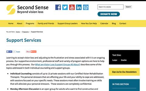 Screenshot of Support Page second-sense.org - Support Services | Second Sense - captured Dec. 9, 2015