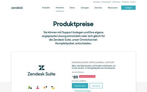 Screenshot of Pricing Page zendesk.de - Zendesk-Preisinformationen   Pläne schon ab US$ 5 pro Monat - captured Sept. 23, 2018