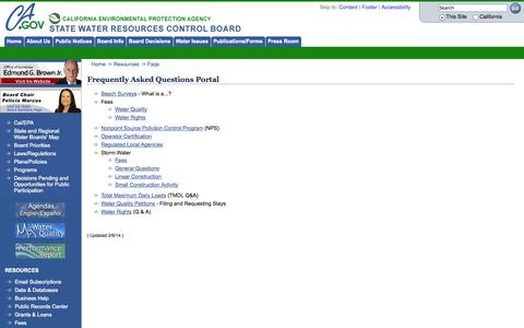 Screenshot of FAQ Page ca.gov - State Water Resources Control Board - captured Sept. 13, 2014