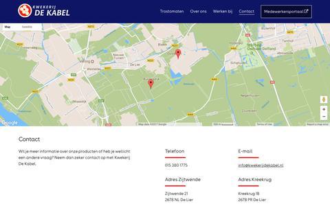 Screenshot of Contact Page kwekerijdekabel.nl - Contact | Kwekerij De Kabel - captured July 5, 2017