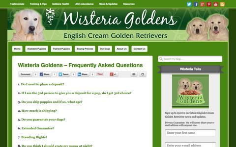 Screenshot of FAQ Page wisteriagoldens.com - FAQ English Cream Golden Retriever Puppies Wisteria Goldens - captured Oct. 29, 2014
