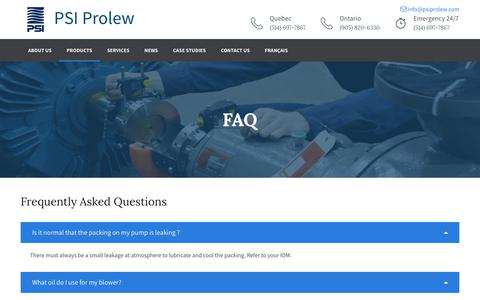 Screenshot of FAQ Page psiprolew.com captured July 10, 2017