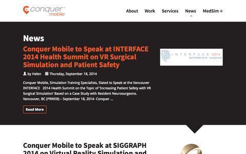 Screenshot of Press Page conquermobile.com - News - Conquer Mobile - captured Oct. 3, 2014