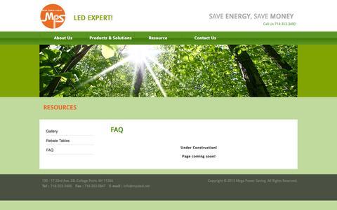 Screenshot of FAQ Page mpsled.net - FAQ   MegaPowerSaving – MPS LED Lighting - captured Oct. 27, 2014